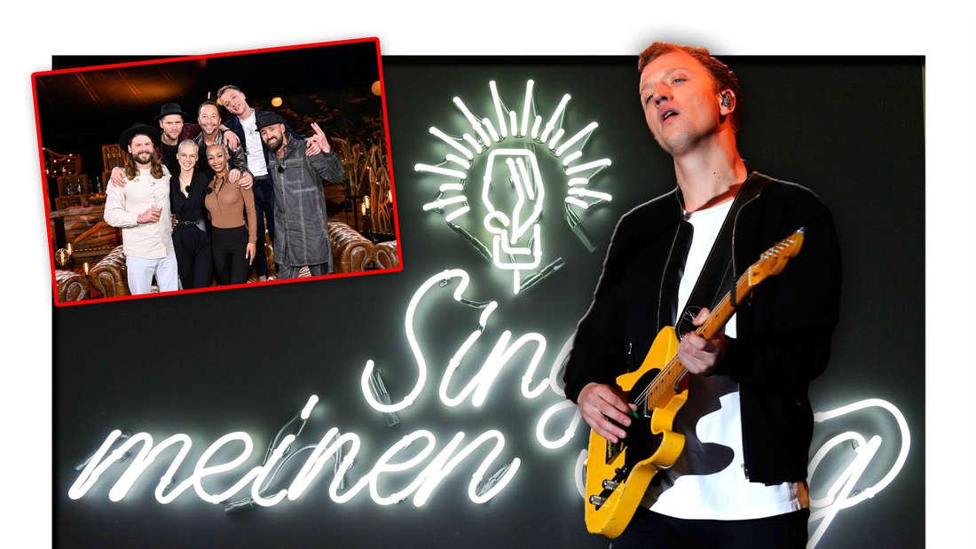"""Joris steht vor dem Logo der Vox-Sendung """"Sing meinen Song"""", daneben der Cast der achten Staffel (Fotomontage)"""