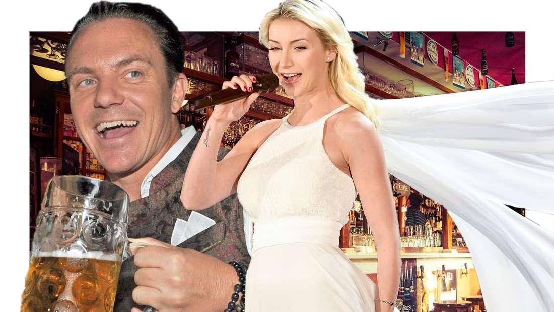 Stefan Mross mit einem Glas Bier in der Hand, neben ihm Anna-Carina Woitschack in einem weißen, langem Kleid (Fotomontage)
