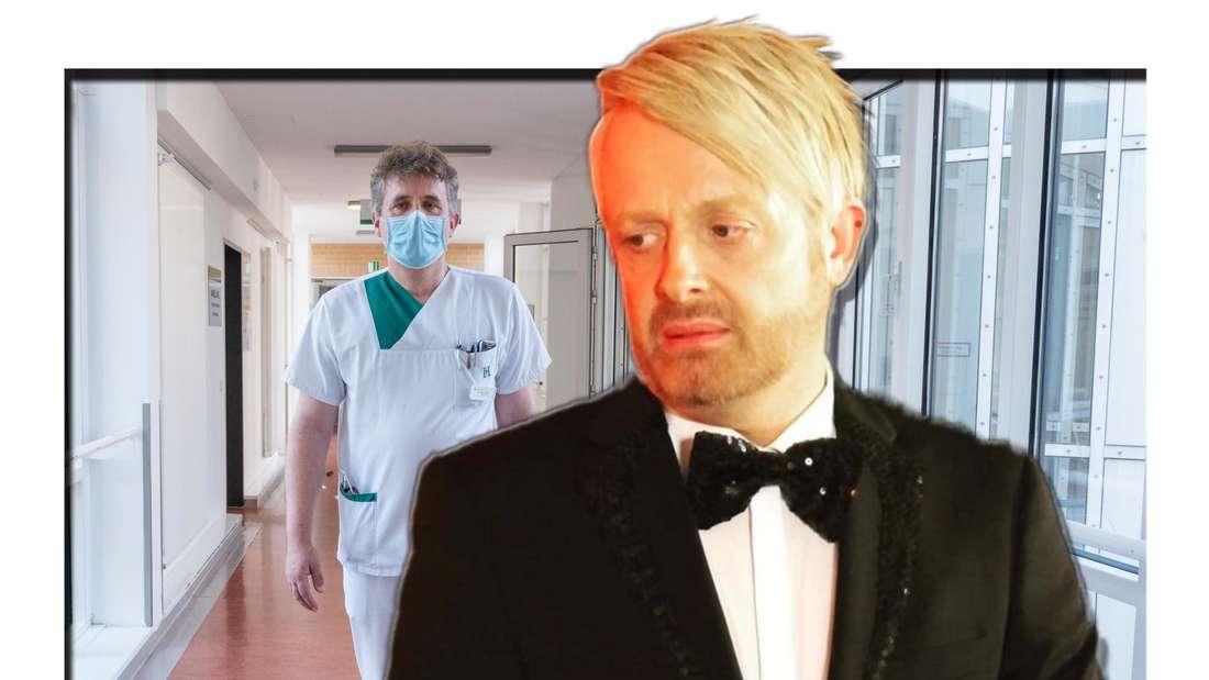 Ross Anthony blickt zur Seite, im Hintergrund sieht man einen Arzt (Fotomontage)