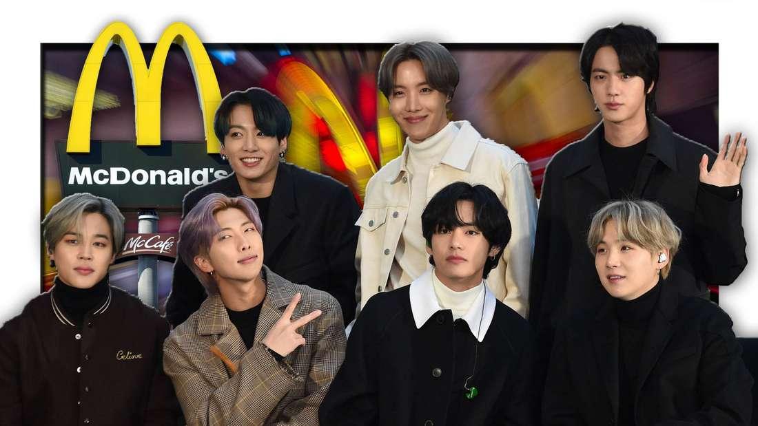 Die südkoreanische K-Pop-Band BTS aus Seoul steht vor dem Logo der Fast-Food-Kette McDonald's (Fotomontage)