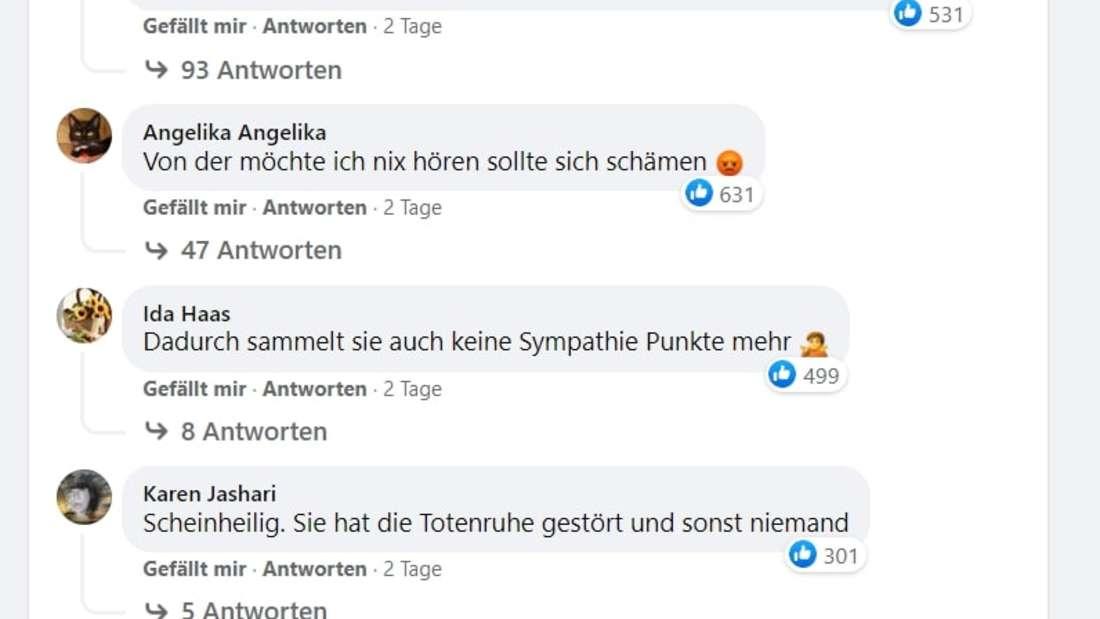 Screenshot von Kommentaren der Fans.