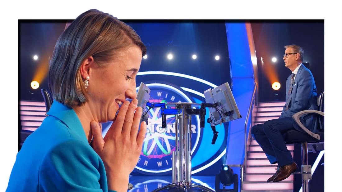 Nora Eckartsberg bei Wer wird Millionär zu Gast (Fotomontage).