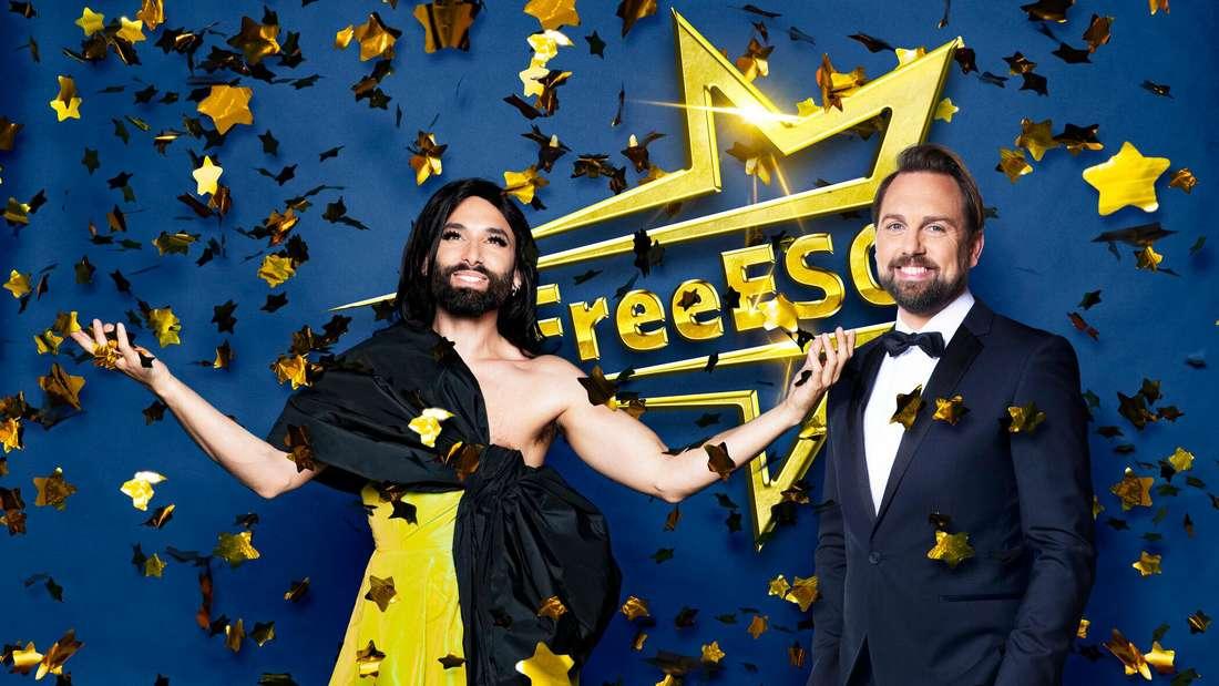 Die Moderatoren Steven Gätjen und Conchita Wurst werben für den Free European Song Contest (FreeESC) bei ProSieben