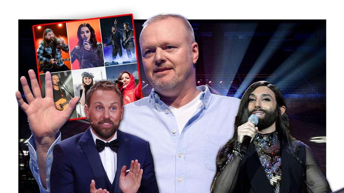 """Stefan Raab und das Moderations-Duo Steven Gätjen und Conchita Wurst stehen vor sechs Stars des """"Free European Song Contest"""" (Fotomontage)"""