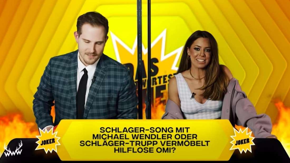 """Benjamin Wolter und Schlagersängerin Vanessa Mai bei """"World Wide Wohnzimmer"""""""