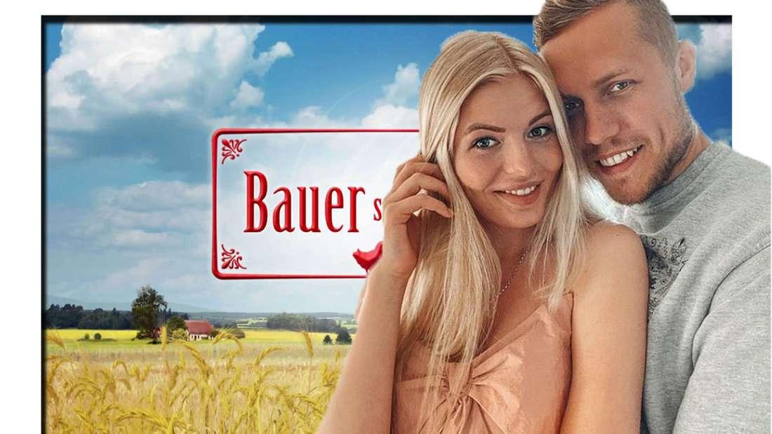 Antonia Hemmer und Patrick Romer lächeln in die Kamera - im Hintergrund ist das Bauer sucht Frau Logo zu sehen (Fotomontage).
