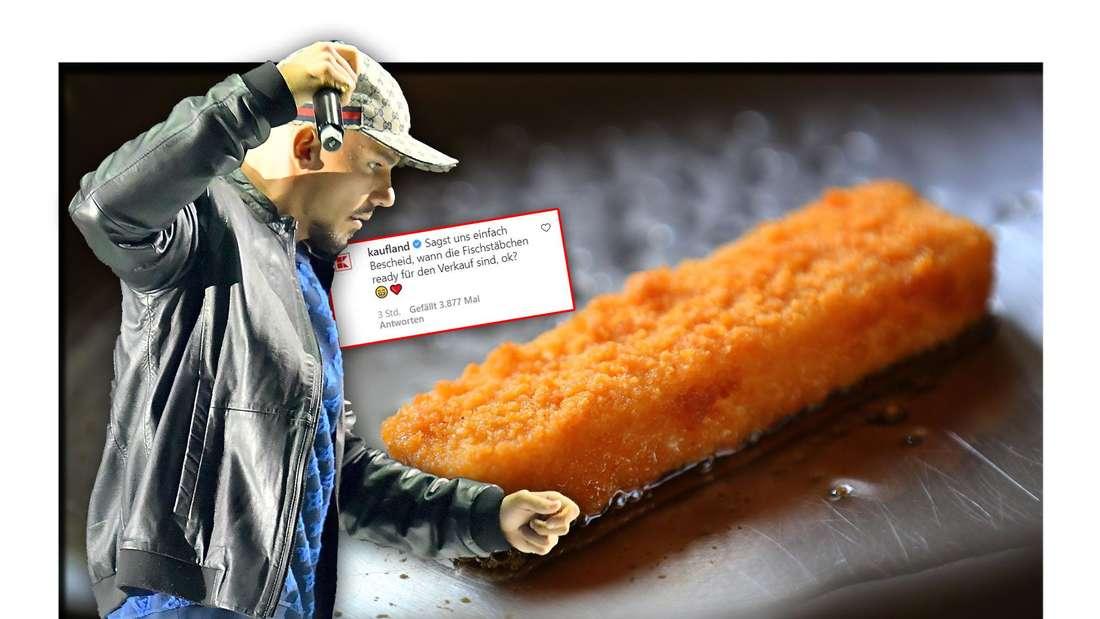 Der Rapper Capital Bra steht neben einem Fischstäbchen, dazwischen ein Instagram-Kommentar von Kaufland (Fotomontage)