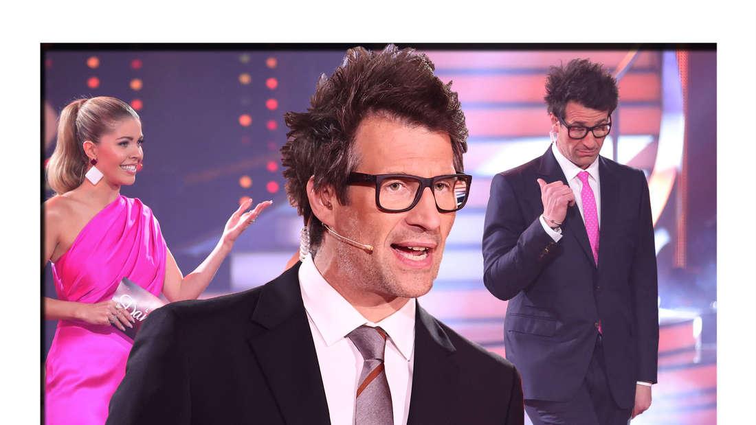Daniel Hartwich schaut mit offenem Mund in die Kamera - im Hintergrund ist er gemeinsam mit Victoria Swarovski zu sehen (Fotomontage)