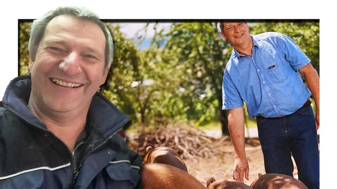 Fotomontage: Rüdiger lacht in die Kamera, im Hintergrund steht er zwischen seinen Schweinen
