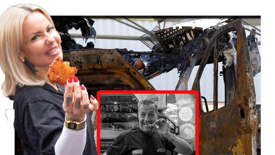 Willi Herren und Freundin stehen vor dem ausgebrannten Food-Truck (Fotomontage)