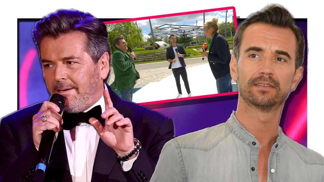 Florian Silbereisen und Thomas Anders stehen nebeneinander - dazwischen ein Screenshot vom ZDF-Fernsehgarten (Fotomontage)