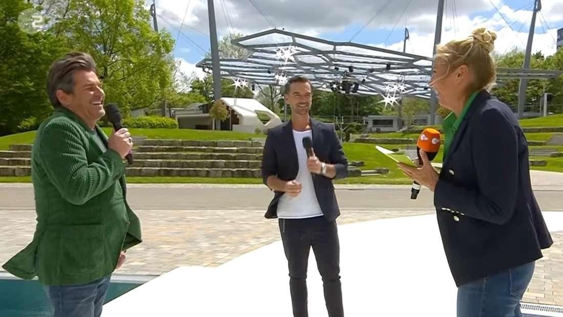 Andrea Kiewel gemeinsam mit Florian Silbereisen und Thomas Anders beim ZDF-Fernsehgarten