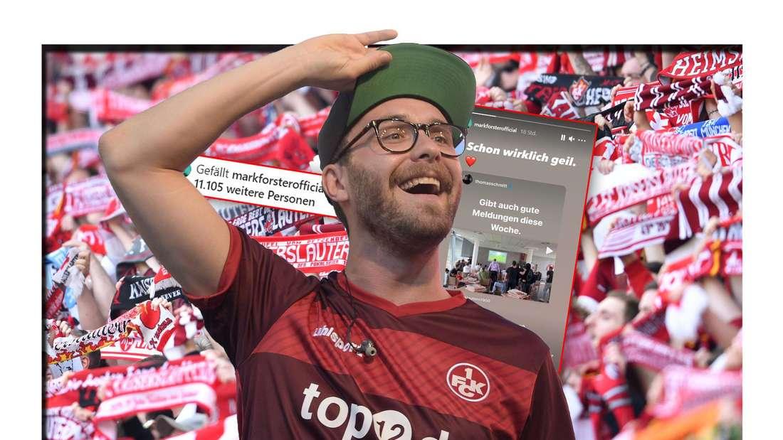 Mark Forster steht in einem Trikot des 1. FC. Kaiserslautern vor FCK-Schals, daneben Instagram-Screenshots (Fotomontage)