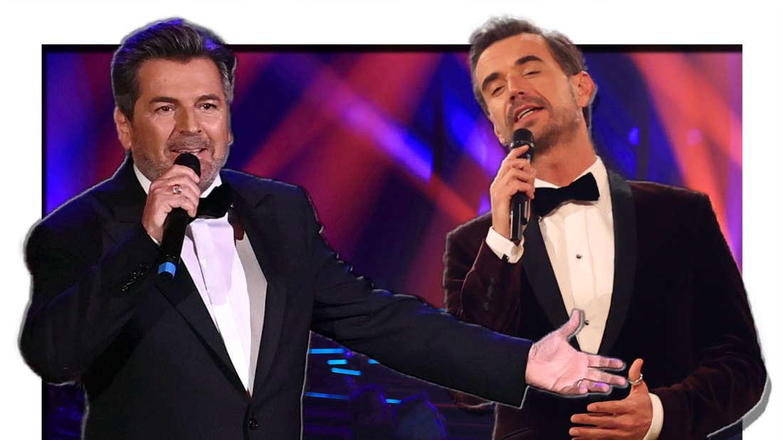 Florian Silbereisen und Thomas Anders singen in in Mikrofone (Fotomontage)