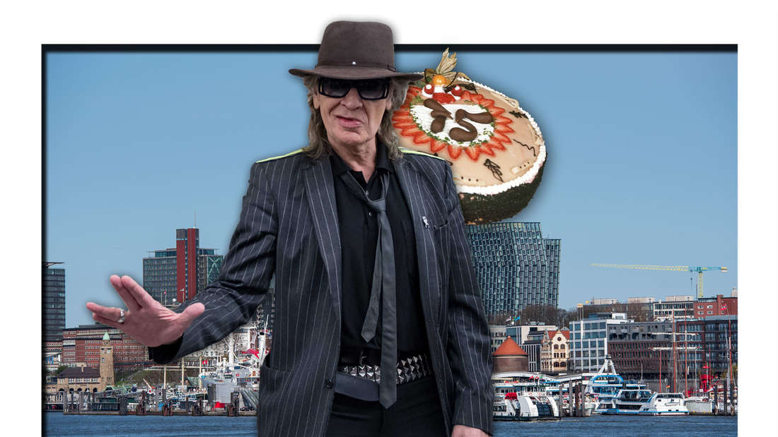 Udo Lindenberg steht vor der Skyline des Hamburger Hafens, daneben eine Geburtstagstorte (Fotomontage)