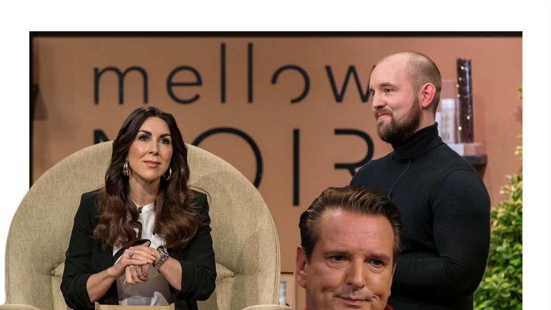 """Fotomontage: Investoren Judith Williams und Ralf Dümmel mit Gründer Julian Köster in der """"Höhle der Löwen"""""""