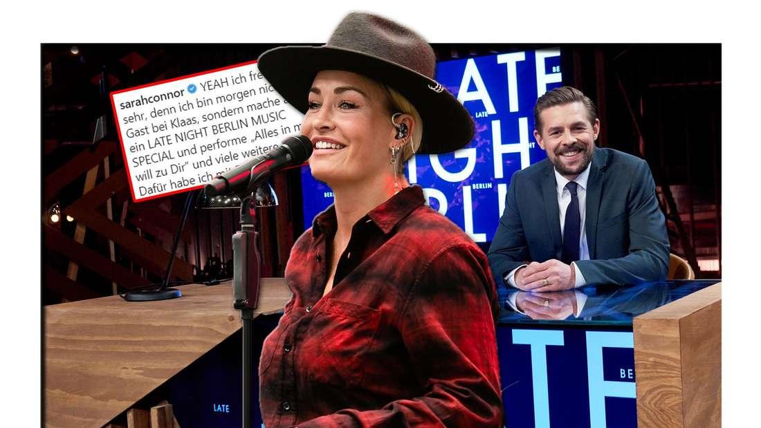 """Sarah Connor steht vor Klaas Heufer-Umlauf und dem Set seiner ProSieben-Show """"Late Night Berlin"""", daneben ein Instagram-Screenshot (Fotomontage)"""