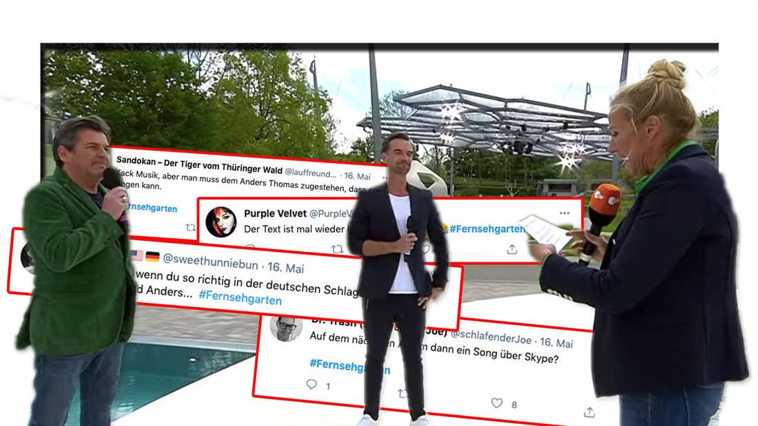 Thomas Anders, Florian Silbereisen und Andrea Kiewel stehen auf der Bühne des ZDF-Fernsehgartens. Dahinter: Tweets der TV-Zuschauer. (Fotomontage)