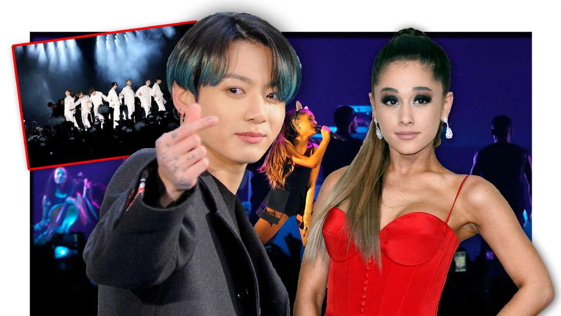 BTS-Sänger Jungkook und Ariana Grande stehen vor einer Bühne der Popsängerin, daneben ein Bild der K-Pop-Boyband (Fotomontage)