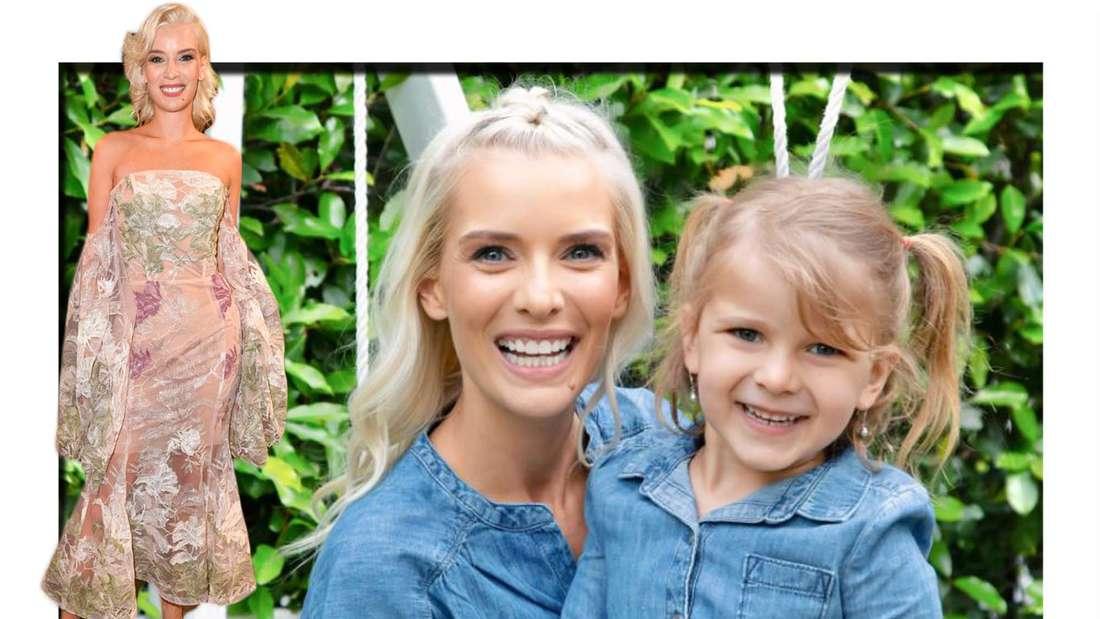 Fotomontage: Oksana Kolenitchenko mit ihrer Tochter, davor Oksana