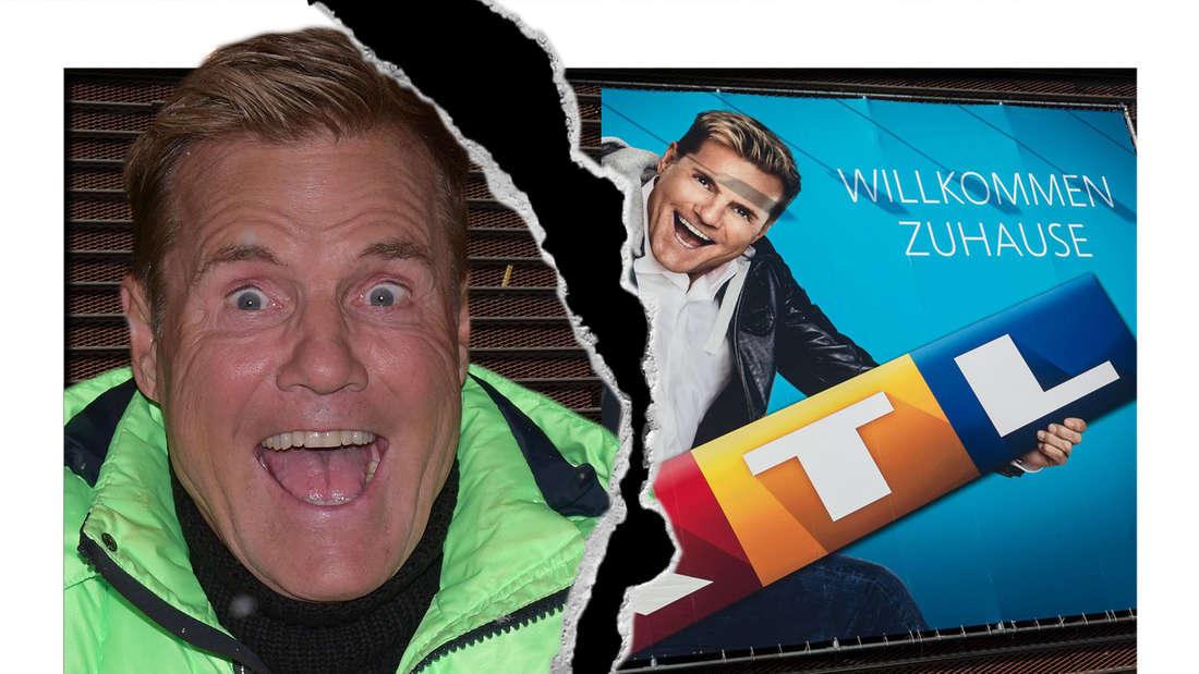 Fotomontage: Dieter Bohlen guckt überrascht in die Kamera vor RTL-Plakat