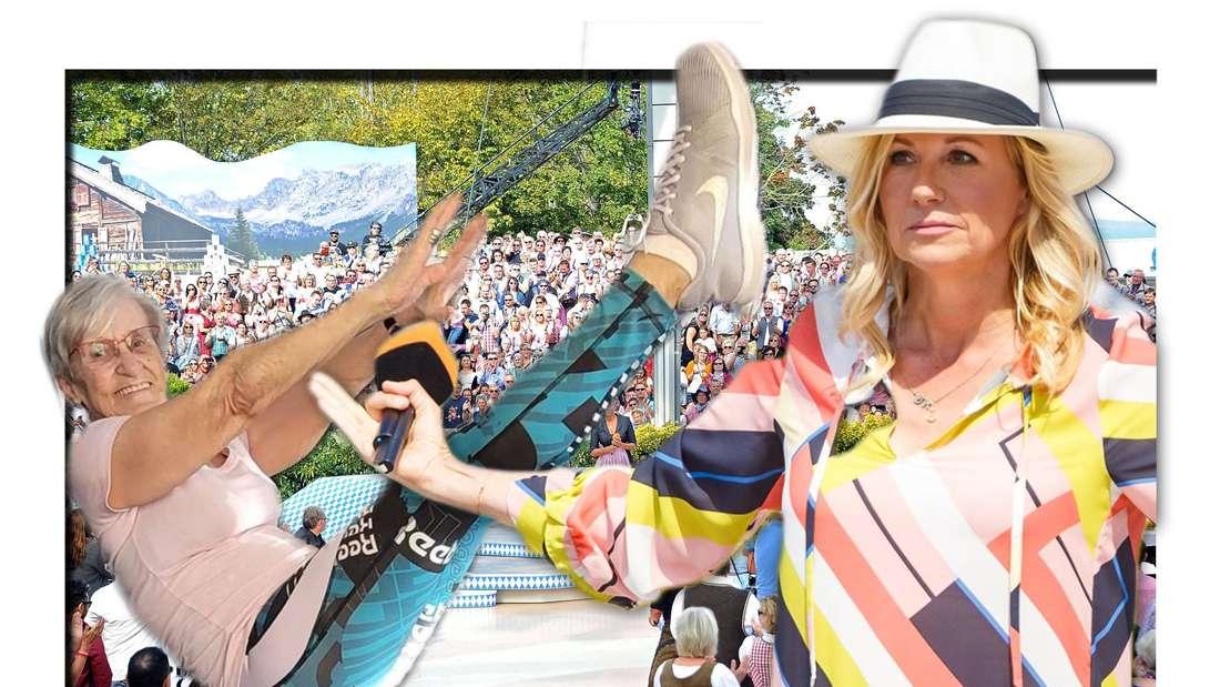 Fotomontage: Andrea Kiewel im ZDF-Fernsehgarten und Erika Rischko