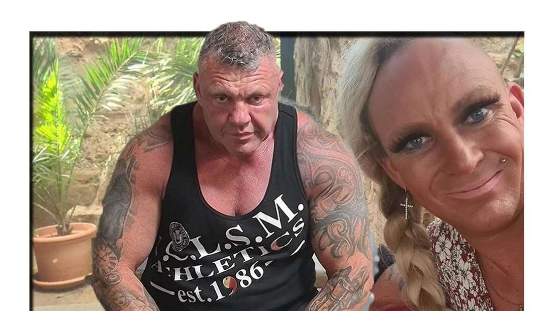Andreas Robens schaut wütend in die Kamera - im Hintergrund ist seine Frau Caro zu sehen (Fotomontage)