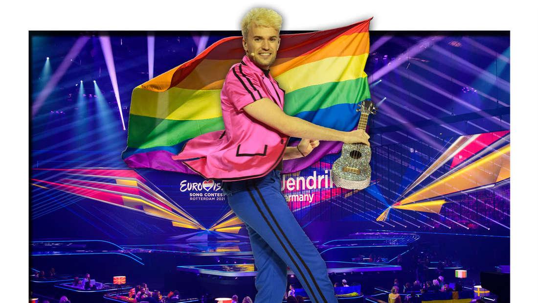 ESC-Kandidat Jendrik Sigwart steht vor der Bühne des Eurovision Song Contests, dahinter eine Regenbogenfahne (Fotomontage)