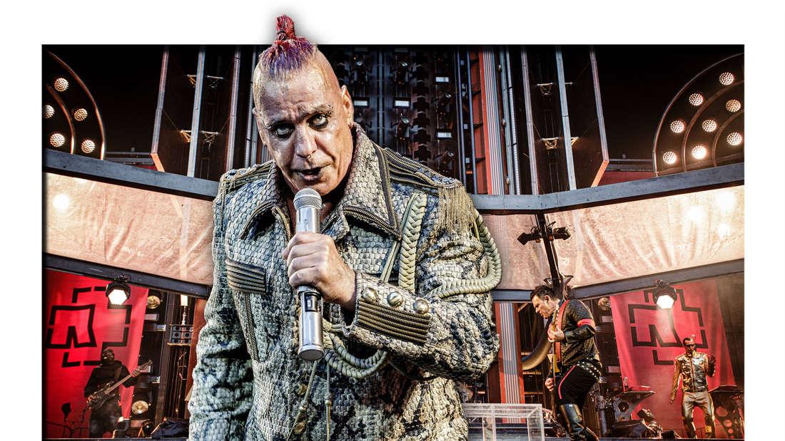 Till Lindemann steht vor der Bühne eine Rammstein-Show im Telia Parekn in Kopenhagen (Fotomontage)