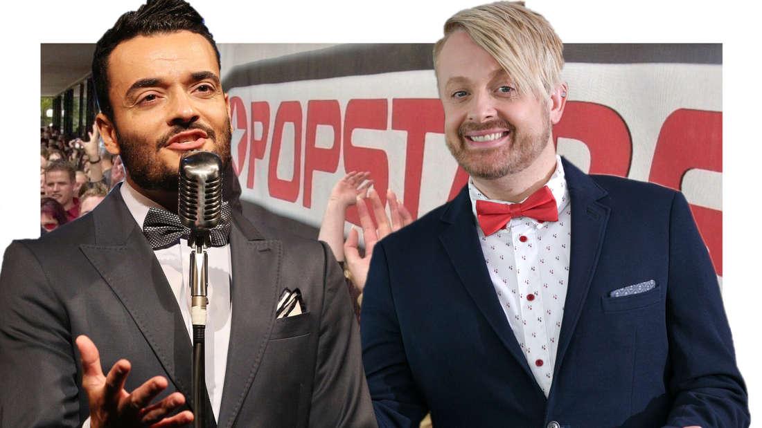 """Ross Antony und Giovanni Zarrella vor einem """"Popstars""""-Hintergrund. (Fotomontage)"""