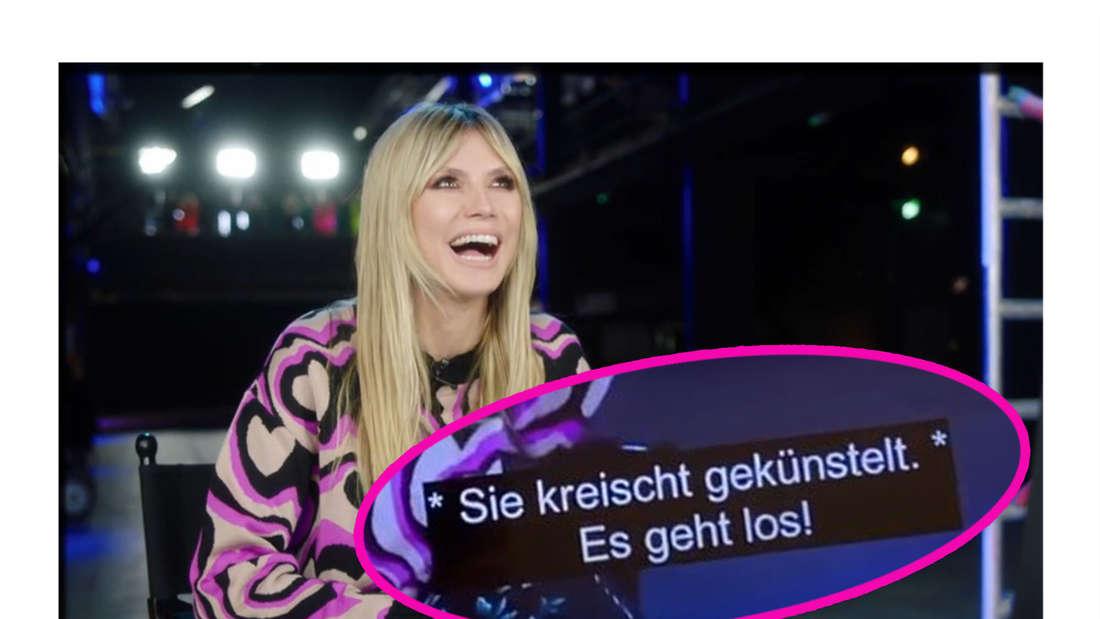Fotomontage: Heidi Klum lacht und Untertitel sind eingekreist