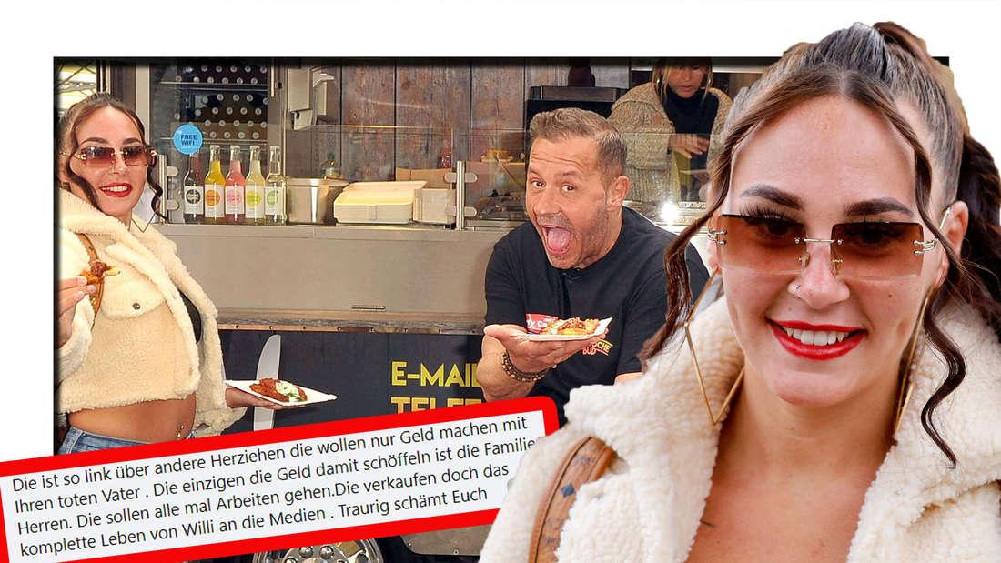 Alessia Herren lächelt in die Kamera - dahinter ist sie mit Vater Willi (†45) zu sehen (Fotomontage)