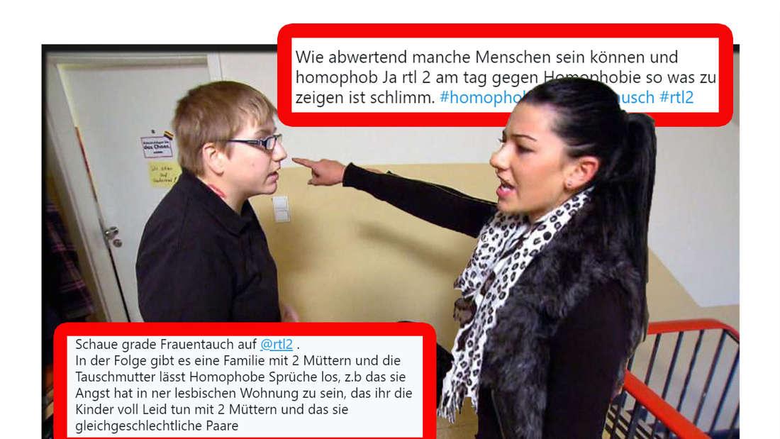 Screenshot aus der homophoben Folge bei Frauentausch - im Vordergrund sieht man Twitter-Kommentare