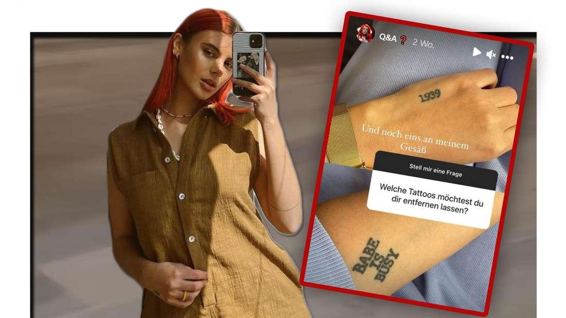 Fotomontage: GNTM-Kandidatin Romina Palm und Instagram-Story Screenshot