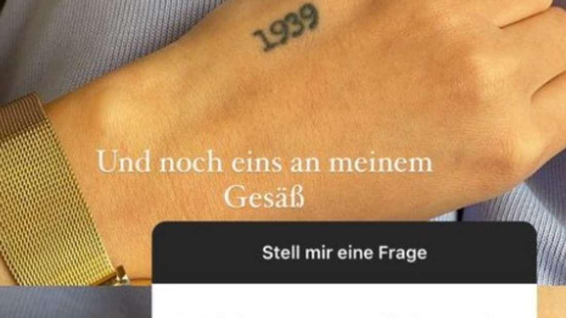 GNTM-Kandidatin Romina Palm zeigt ihre Tattoos in ihrer Instagram-Story