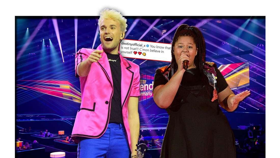 Die ESC-Kandidaten Jendrik (Deutschland) und Destiny (Malta) stehen vor der Bühne des Eurovision Song Contest (Fotomontage)