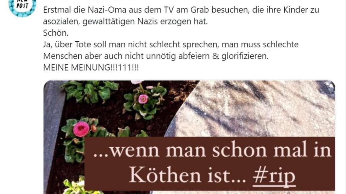 Screenshot von einem Twitter-Beitrag zu Annemarie Eilfelds Besuch an Karin Ritters Grabstätte