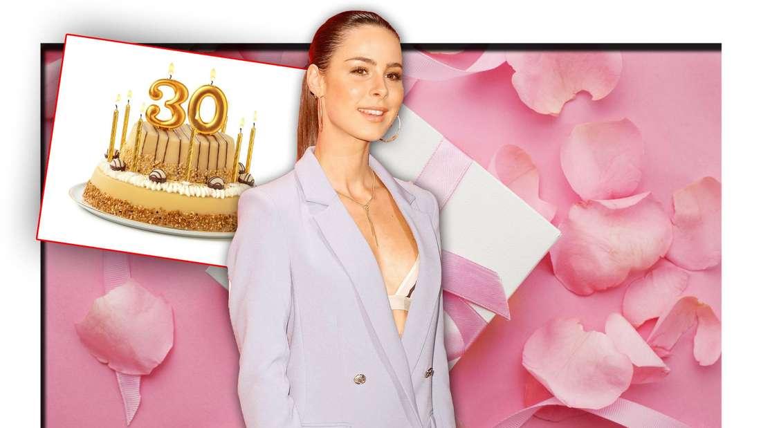 Lena Meyer-Landrut steht vor rosa Hintergrund und einem Geschenk, daneben ein Geburtstagskuchen, auf dem eine 30 steht (Fotomontage)