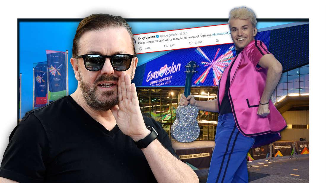 Comedian Ricky Gervais und ESC-Kandidat Jendrik Sigwart vor der Eurovision Song Contest-Arena in Rotterdam (Fotomontage)