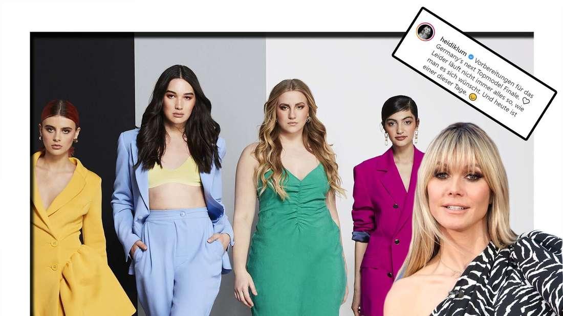 Fotomontage: Die GNTM-Finalistinnen Romina, Alex, Dascha, Soulin und Heidi Klum
