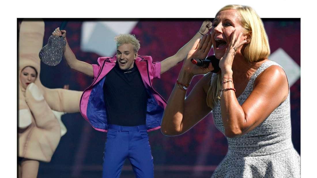 Fotomontage: Jendrik Sigwart beim Eurovision Song Contest und Andrea Kiewel