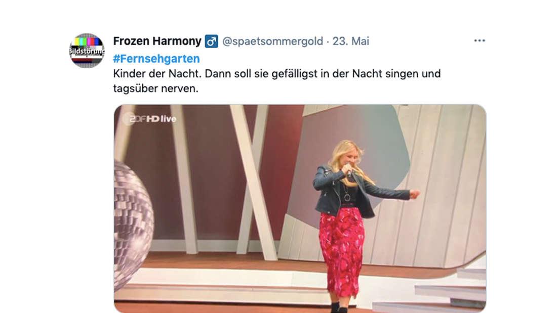Tweet zum ZDF-Fernsehgarten-Auftritt von Vivien Gold am 23. Mai 2021