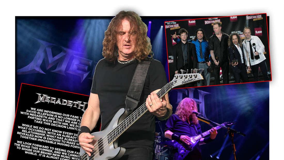 Megadeth-Bassist David Ellefson steht neben Frontmann Dave Mustaine, daneben dessen Instagram-Statement und Metallica (Fotomontage)