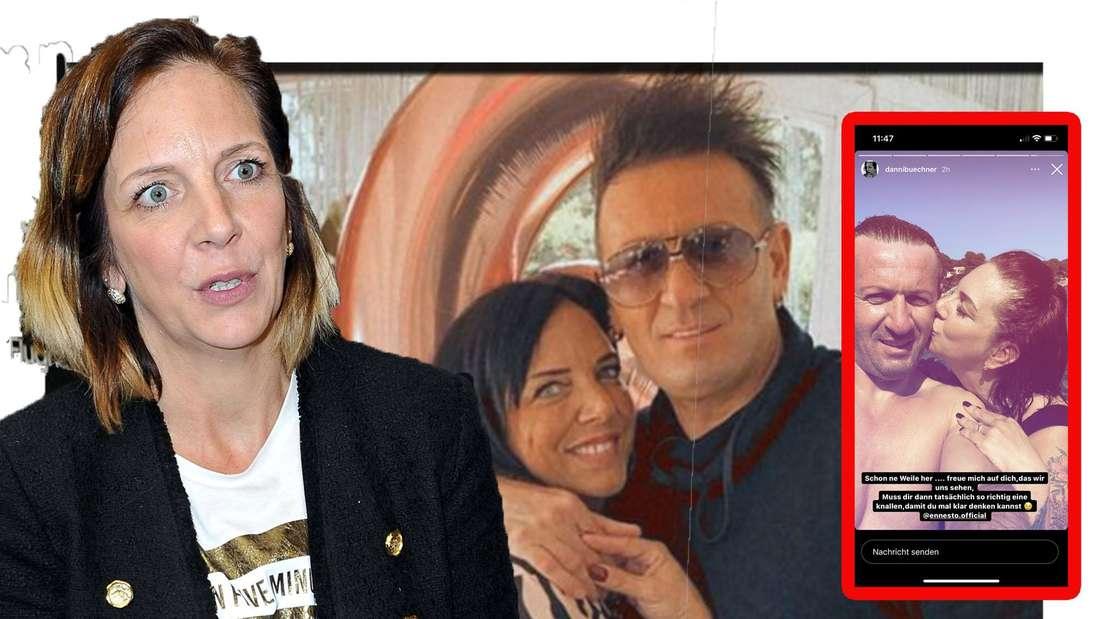 Danni Büchner schaut entsetzt in die Kamera - im Hintergrund ist sie gemeinsam mit ihrem Ex Ennesto zu sehen (Fotomontage)