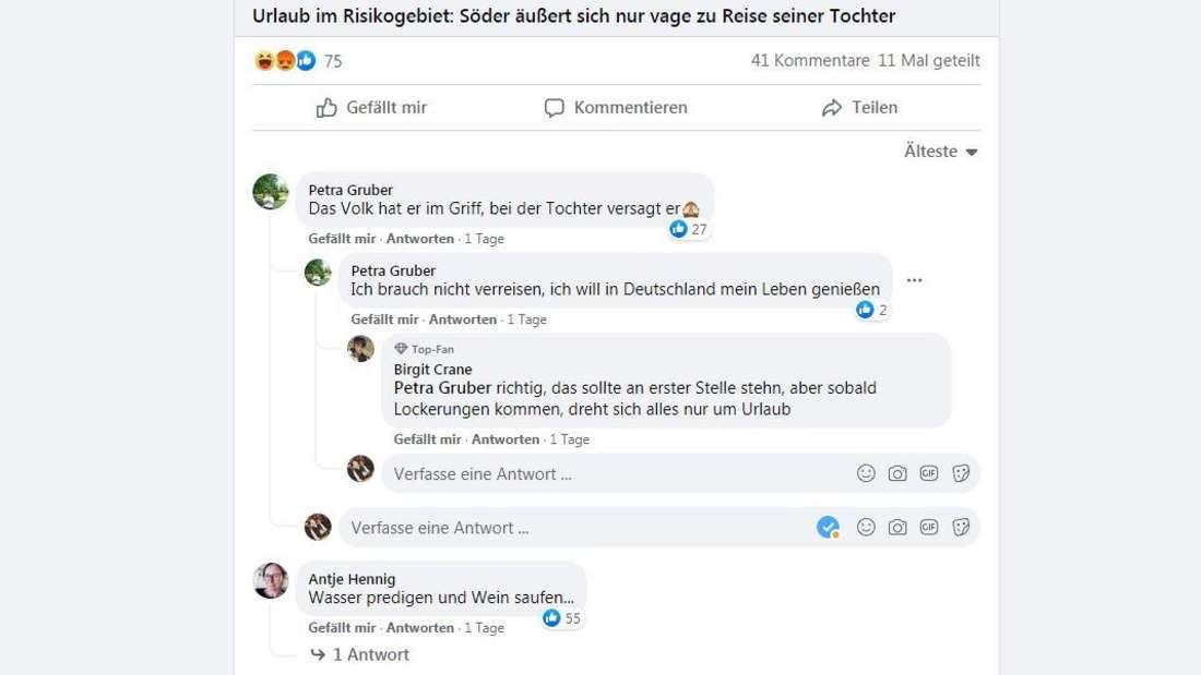 Die Reaktionen auf den Luxusurlaub von Gloria Söder bei Facebook.