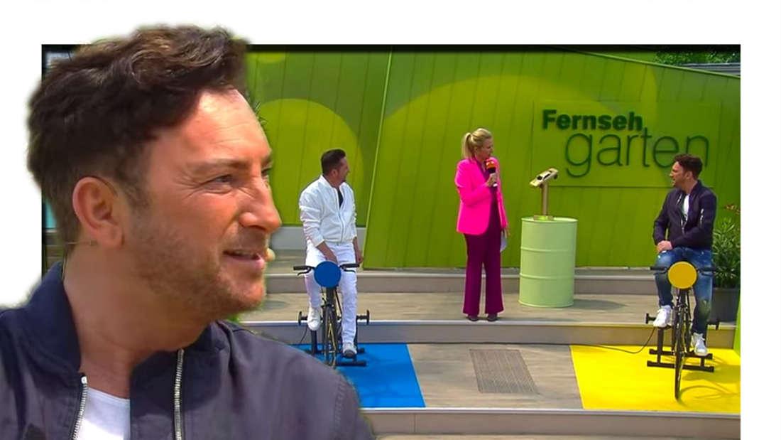 Schlager-Duo Fantasy (Martin Hein und Freddy März) am 23. Mai 2021 mit Andrea Kiewel auf der ZDF-Fernsehgarten-Bühne (Fotomontage)