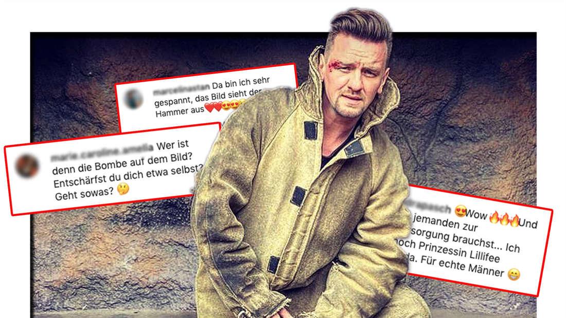 Ben Zucker in einem schmutzigen Overall vor einer Felswand. Dahinter: Die Reaktionen seiner Fans auf sein Instagram-Bild vom 21. Mai 2021 (Fotomontage)