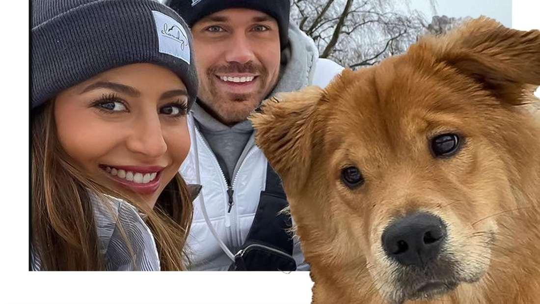 Eva und Chris gemeinsam mit Hundedame Sheikha (Fotomontage)