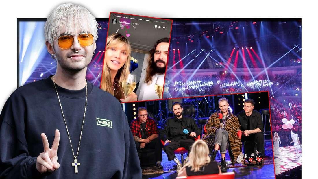 Tokio Hotel-Frontmann Bill Kaulitz steht neben GNTM-Chefin Heidi Klum und Tom Kaulitz, daneben ein Foto der Band (Fotomontage)