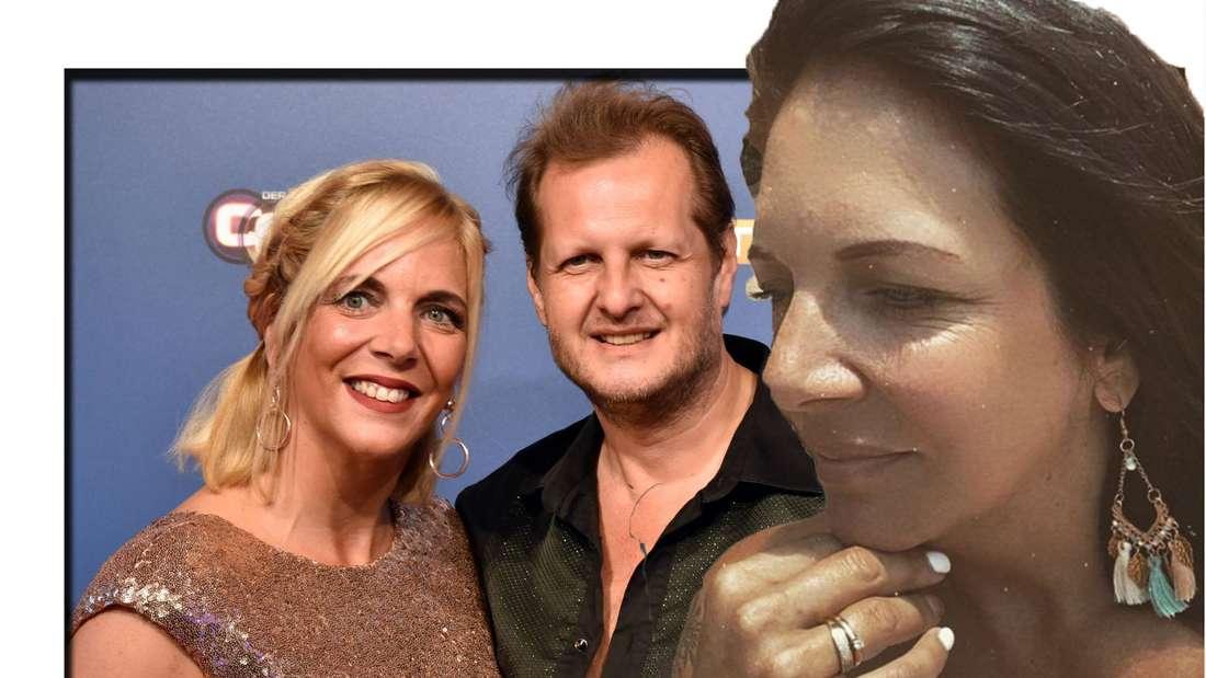 Danni Büchner schaut seitlich in die Kamera - im Hintergrund ist sie mit Jens Büchner (†49) zu sehen (Fotomontage)